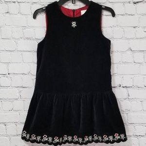 Hanna Andersson Black Velvet Embroidered Dress 120